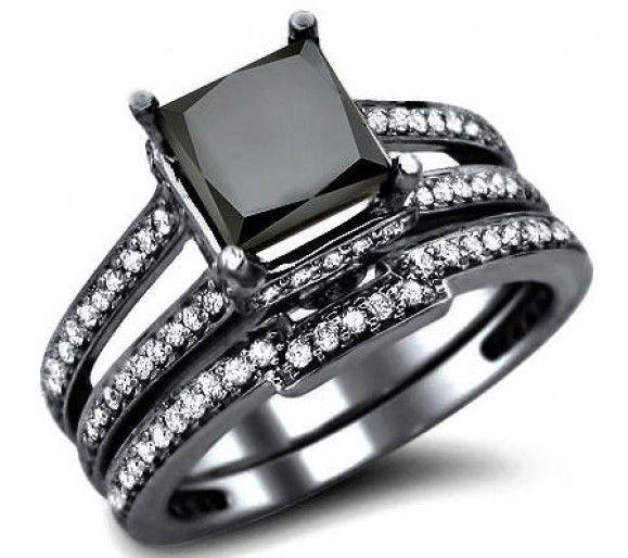 great black and white diamond wedding set carats ctw in k white gold - Black Diamond Wedding Ring Sets