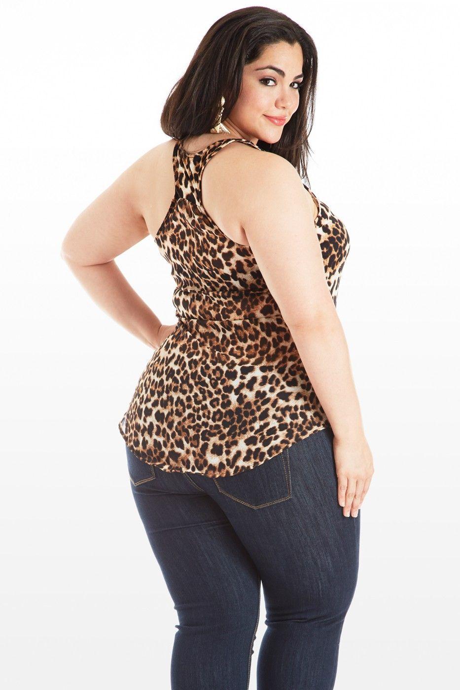 Tank Me Back Animal Print Tank Top Plus Model Nicole Zepeda Dorothy Combs Models
