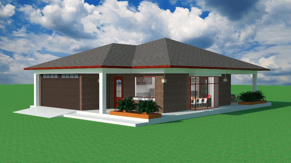 Dise os y planos de una casa sencilla de un piso con for Casa minimalista 2 dormitorios