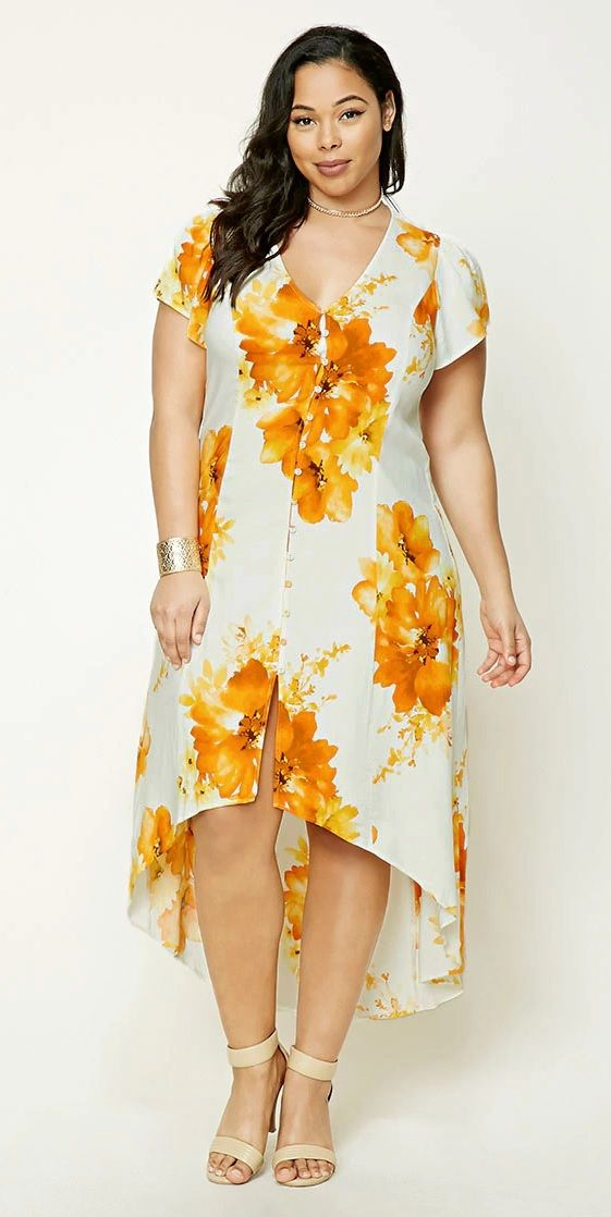 Plus Size Floral High Low Dress Plus Size Fashion Pinterest