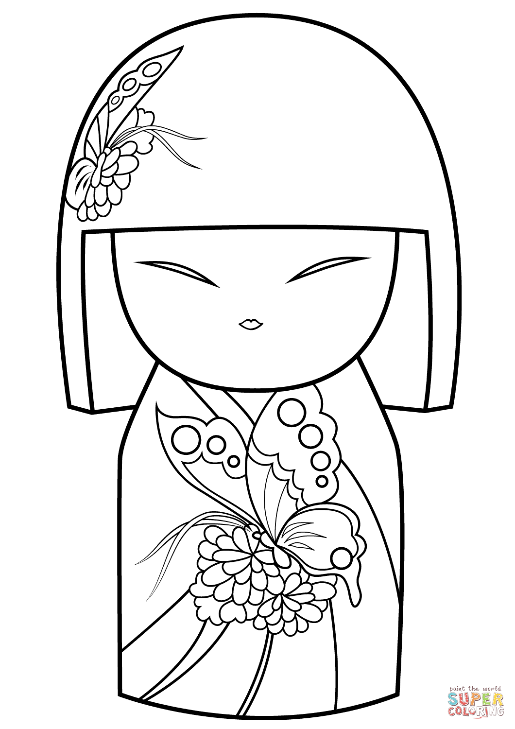 Coloring pages, Coloring books, Japanese dolls