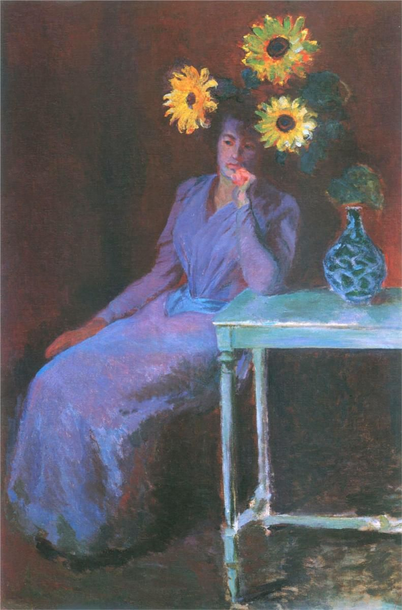 Claude Monet - Portrait of Suzanne Hoschede(Valadon) with Sunflowers, 1890