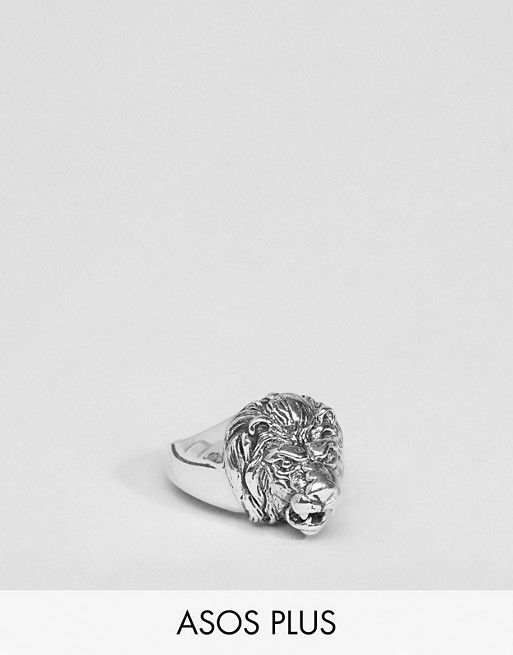 ASOS PLUS Sterling Silver Lion Head Ring
