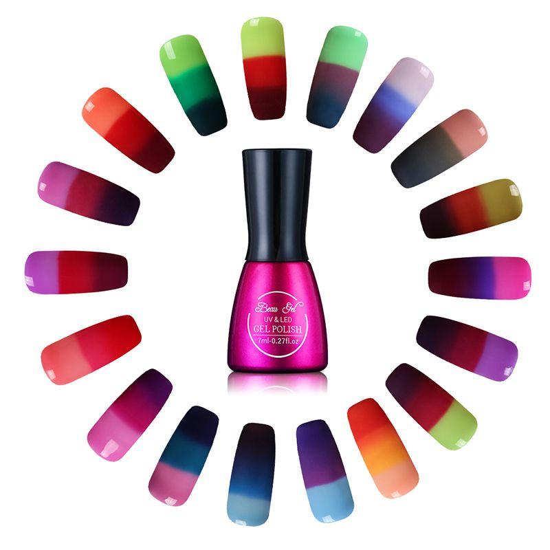 Beau gel 7 ml gel esmalte de uñas camaleón cambio de temperatura de color cambio uv gel de la laca de esmalte de uñas de color térmica