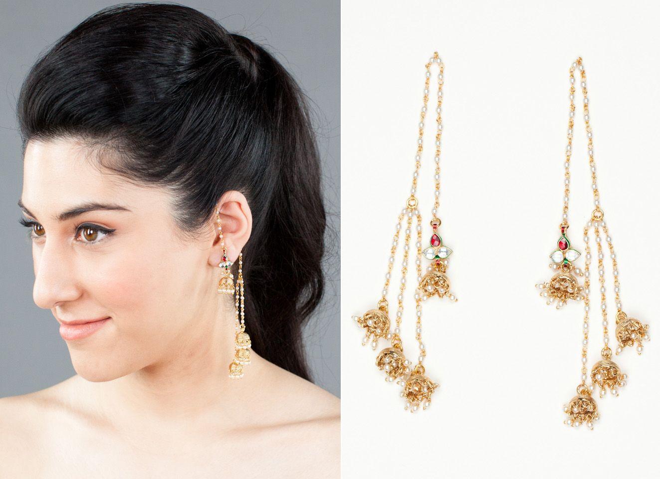 Earring Trends  Other Wrap Earrings, These Tiny Pearl Kashmiri Style  Earrings