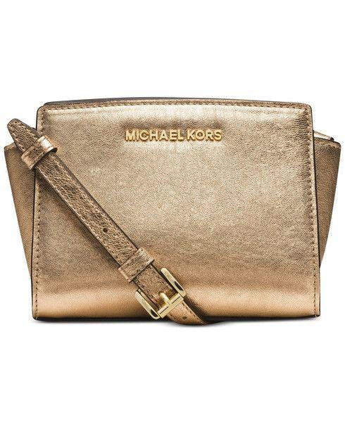 379d12c618fa9 MICHAEL Michael Kors Selma Mini Messenger Bag in Pale Gold
