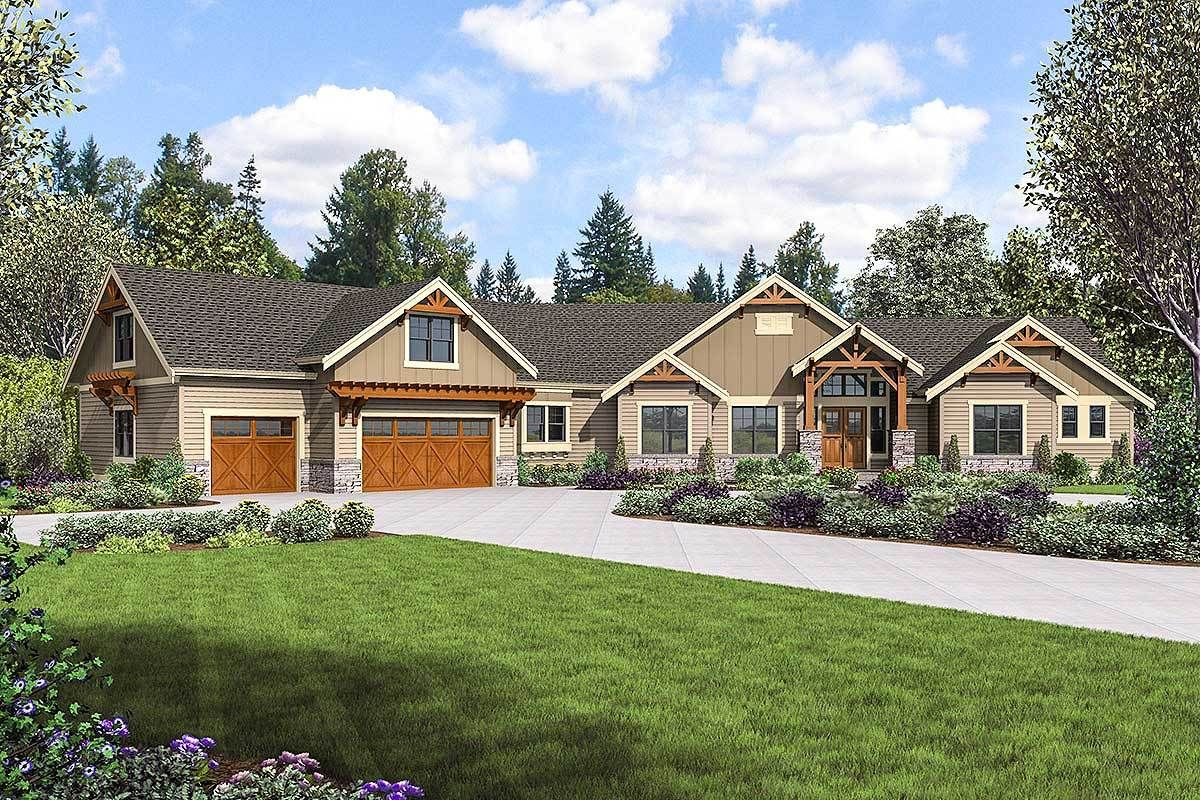 Plan 23707jd Mountain Ranch Home With Rv Garage In