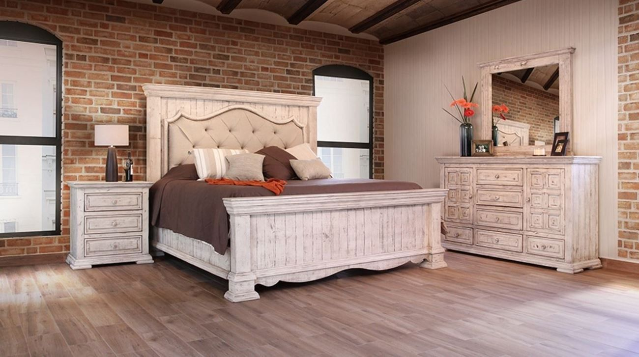 shop the bella white king upholstered panel 3 piece bedroom group at