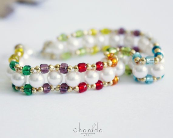 Weave Rainbow Bracelet with white pearl colorful beaded string with Illusion Core Monofilament nylon and silver plated lobster clasp
