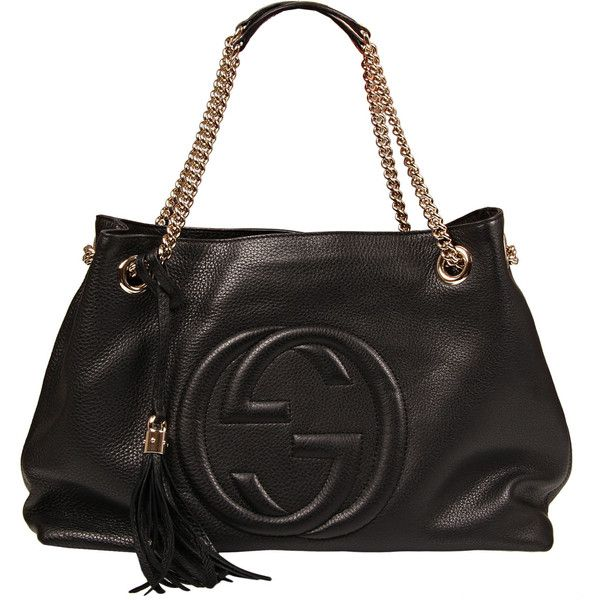 a5f180201631 Gucci Black Leather Large Soho Bag ( 1,670) ❤ liked on Polyvore featuring  bags,