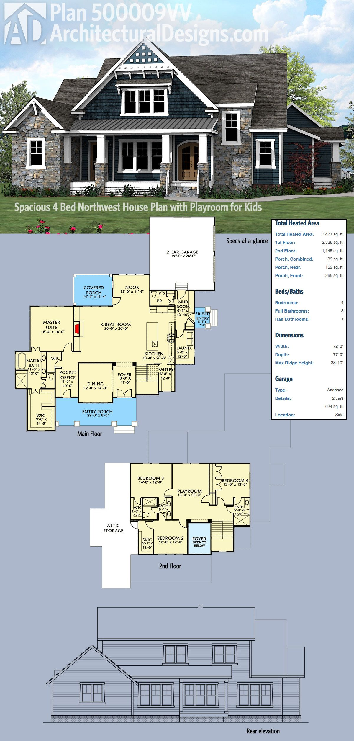 plan 500009vv spacious northwest house plan with playroom for kids - Northwest Home Floor Plans