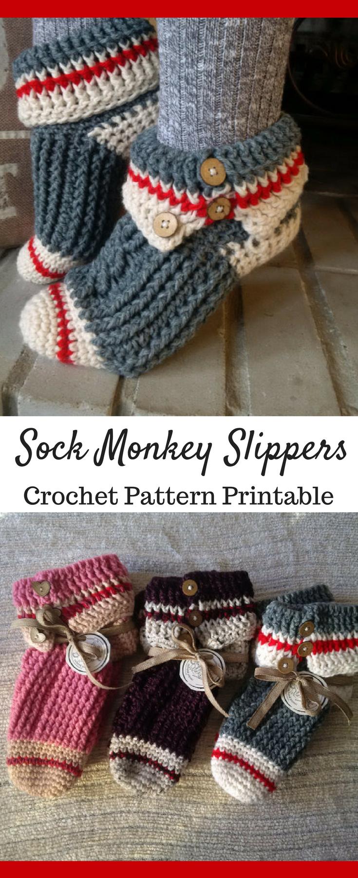 06df61d6908 Sock Monkey Slippers Crochet Pattern Printable PDF  ad  socks  sockmonkey   slippers  crochet  crocheting  crochetpattern  pattern  patternsforcrochet  ...