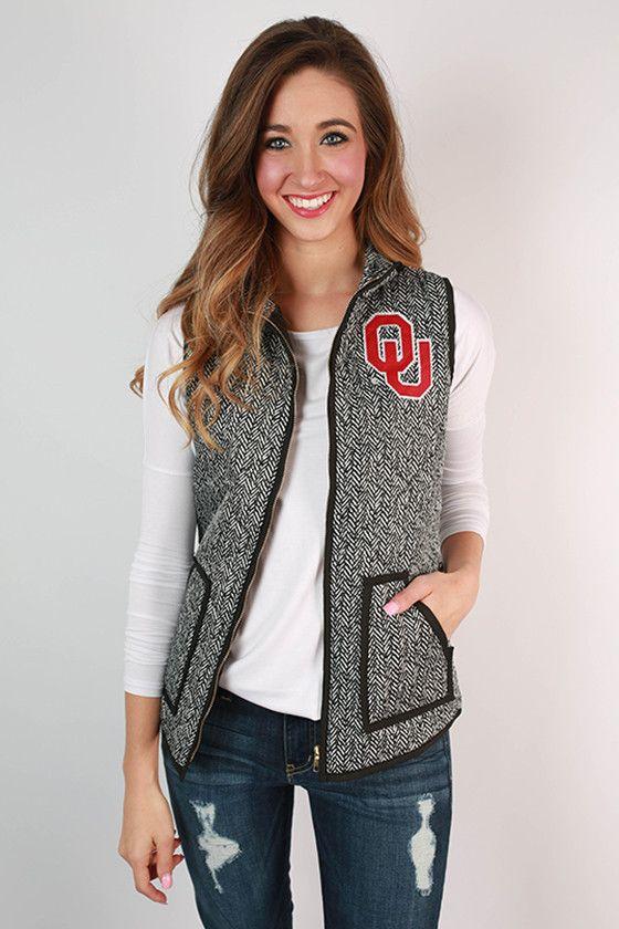University Of Oklahoma Herringbone Vest | Herringbone vest ...
