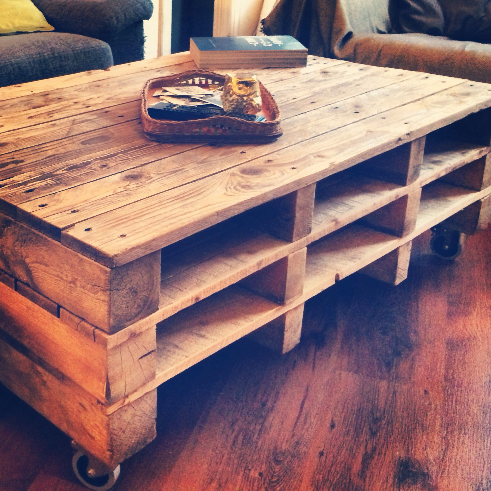 our self made pallet coffee tabel. Black Bedroom Furniture Sets. Home Design Ideas