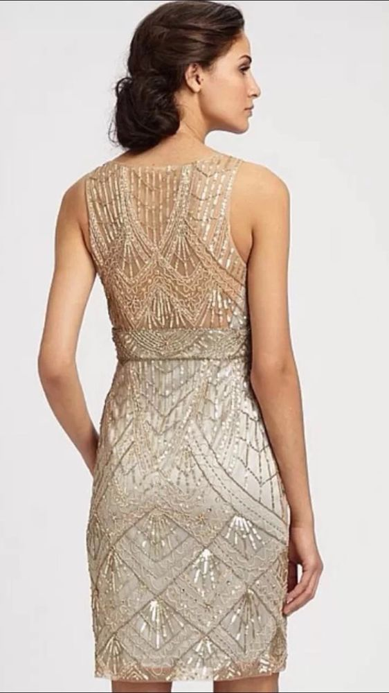 SUE WONG 1920 s GATSBY Champagne Silver Beaded Sequin Evening Bridal ...