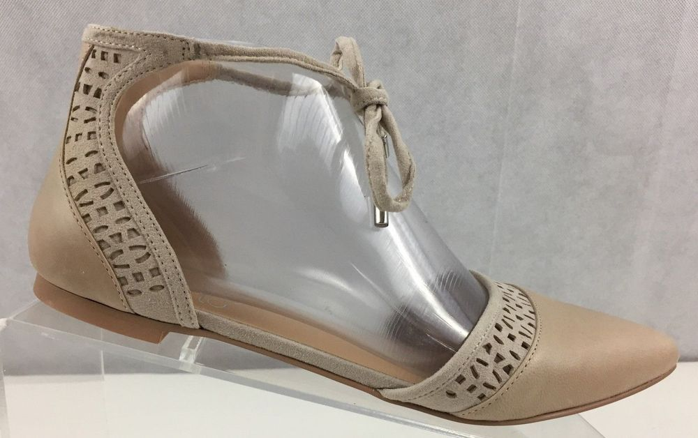 5ff3096c398 Franco Sarto Women L-Shirley Leather Pointed Toe Ankle Strap Flats US 6.5M