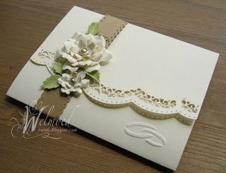 handmade wedding card from Welmoed ... cream and neutrals ... triple folded card ... gorgeous die cut border ... dimensional flowers on belly band