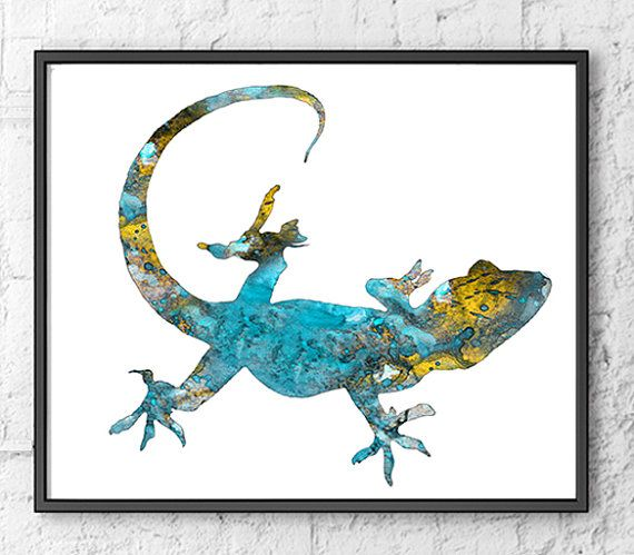 Lizard Art Watercolor Reptile Blue Watercolor Art Print Gecko Poster Lizard Art Animal Art Wall Decor Home Decor Watercolor Art Prints Watercolor Art Art