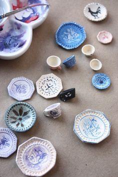 miniature dish tutorial : make tiny teacups and plates #dollhouses