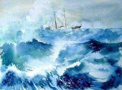 Tempete En Mer Aquarelle Realisee Au Cours De Michel Vrins