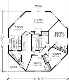 Octagon House floor plan, 1 of 2 levels in 2019 | Octagon ... on tree house ladder design, tree house interior design, small house floor design, tree house roof design,