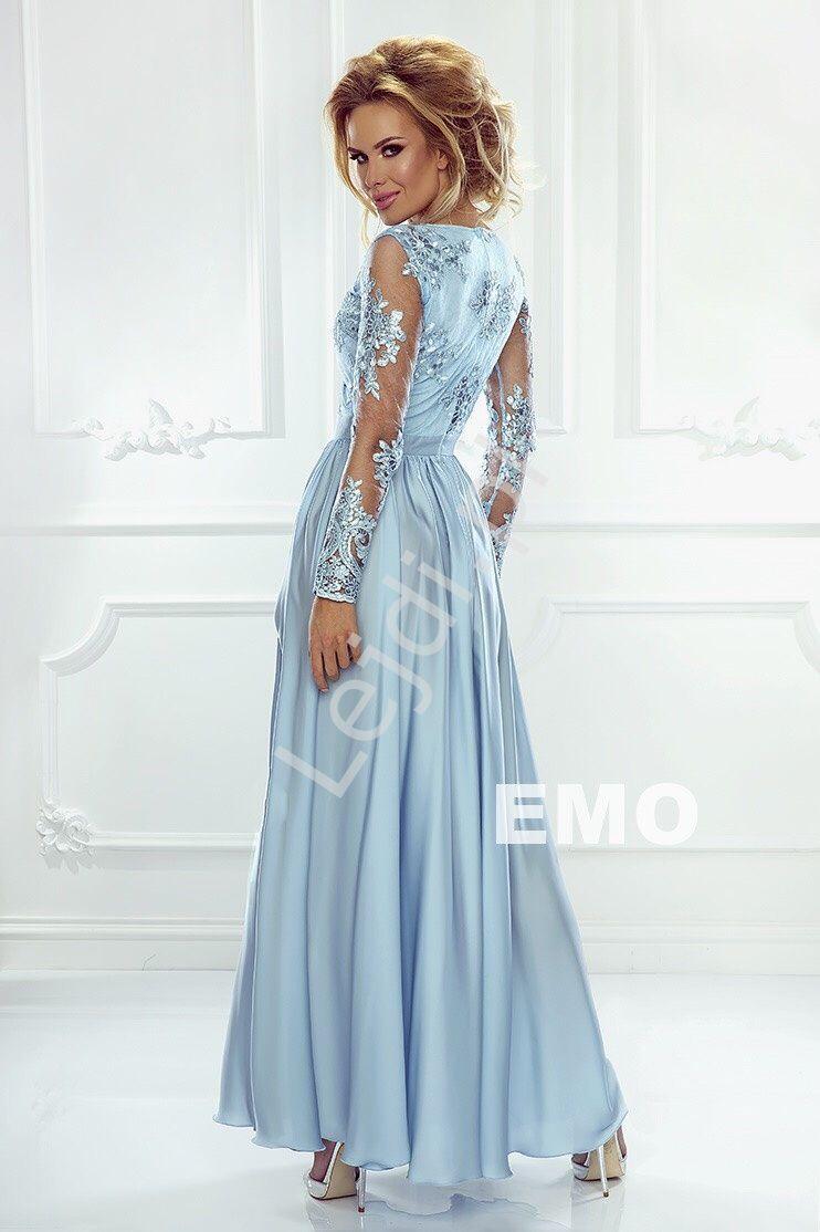 6583b91051 Sukienka na wesele z jedwabstym dołem