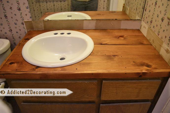 Bathroom Makeover Day 2 My 35 Diy Wood Countertop Wood