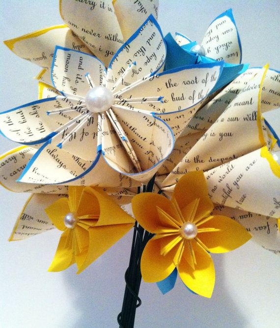 Paper Flower Poetry Bouquet I Carry Your by DanasPaperFlowers, $50.00