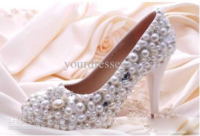 sparkling pearl crystal white su misura 3/5/8 / 10CM nuziale scarpe da sposa delle donne del partito scarpeall'ingrosso