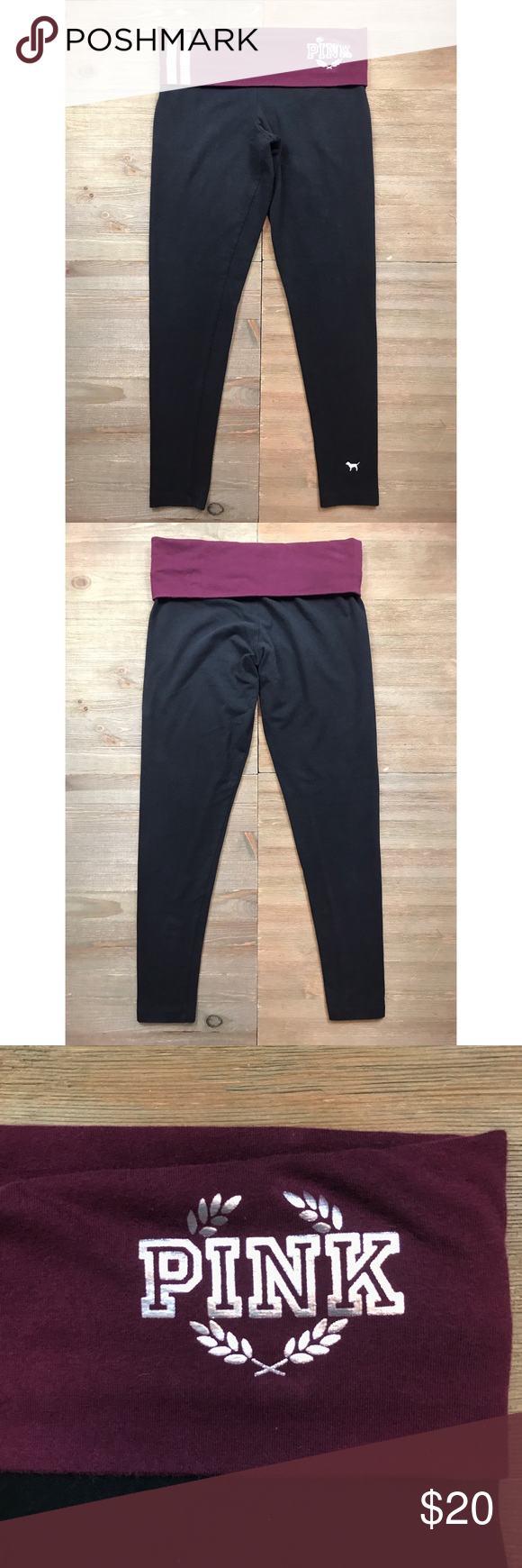 a55f2614d7fec8 VS PINK Bling Yoga Leggings PINK by Victoria's Secret. Yoga leggings. Black  with maroon fold over waistband. Silver foil logo with rhinestone stripes.