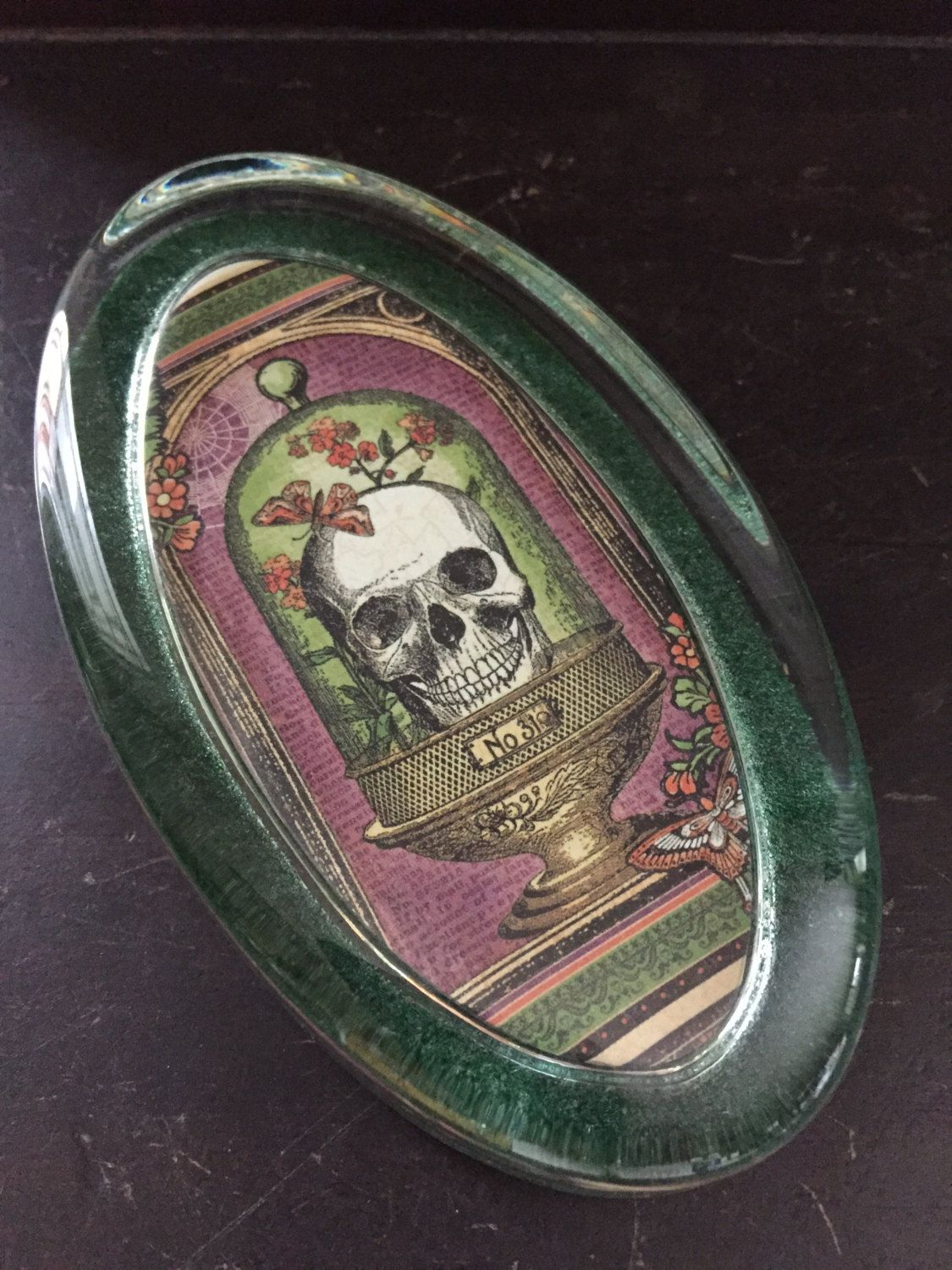 Rare Oddities Apothecary Skull Under Glass Paperweight by LynnRadford on Etsy