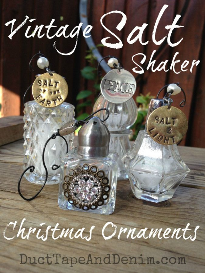 Vintage salt shaker Christmas ornaments & more DIY ideas for decorations,  gifts, crafts, and jewelry on DuctTapeAndDenim.com - Vintage Salt Shaker Christmas Ornament Tutorial {VIDEO} Crafts