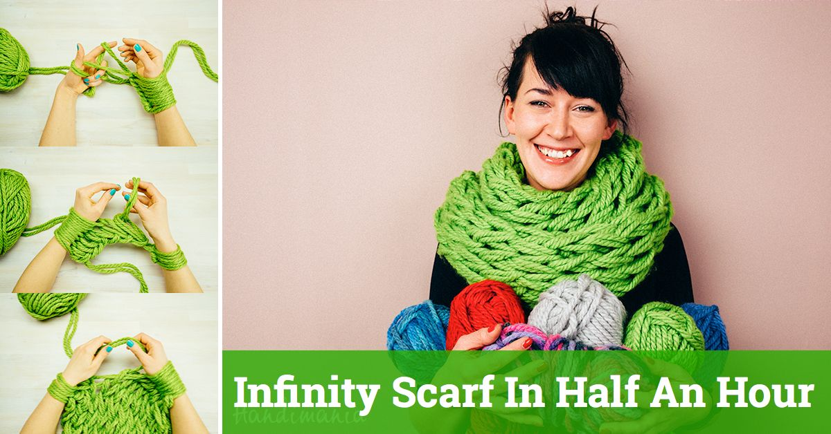 Arm Knitting Tutorial – Make Your Own Infinity Scarf In Half An Hour ... 2d1cecb2f5c