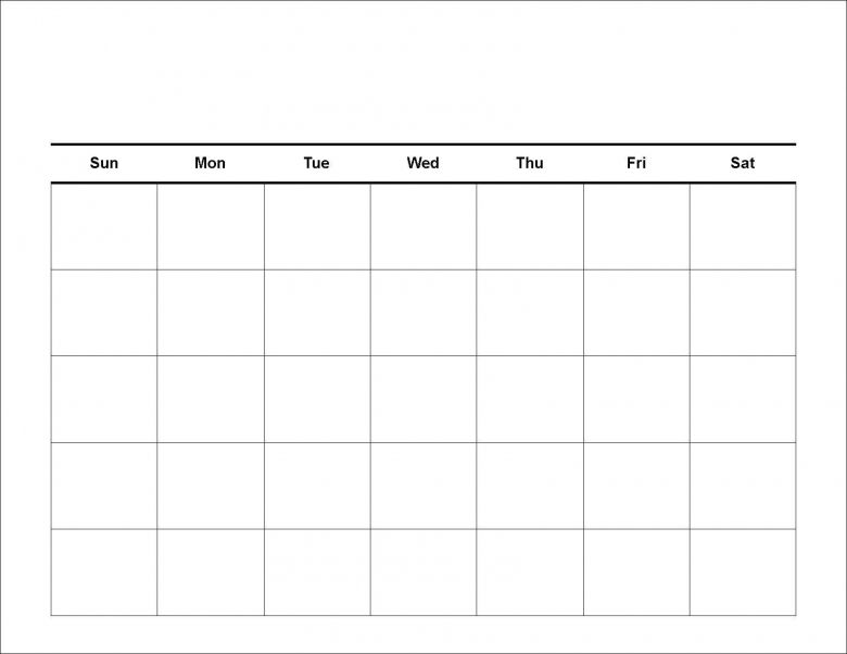 Printable Blank Calendar Template   Printable Calendar  Cool