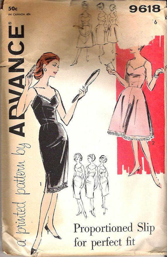 Advance 9618 Vintage Slip Lingerie Sewing Pattern B36 | Vintage ...