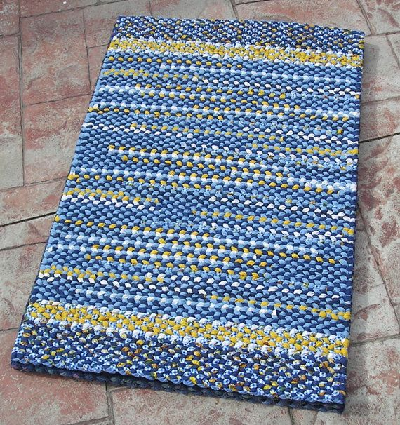 Handmade Twined Rug Blue Yellow And White Woven Cotton