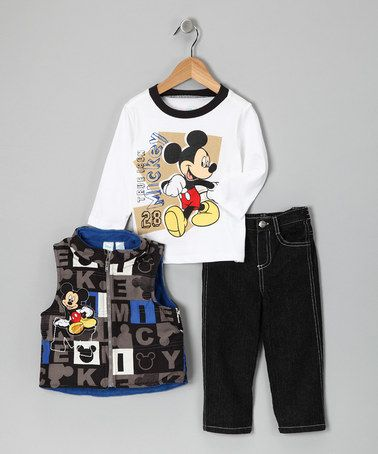 11f040c20 Take a look at this White Mickey Mouse Zip-Up Vest Set - Infant by Blow-Out  on #zulily today! Great price on Disney designs. Make this 3 Piece outfit a  Fall ...