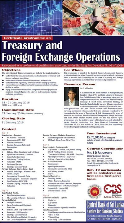 Certificate Programme On Treasury And Foreign Exchange Operations