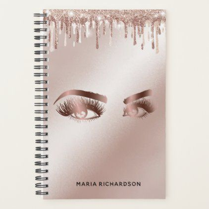 Photo of Glitter Drips Makeup Eyebrow Eyes Lashes Rose Gold Planner | Zazzle.com