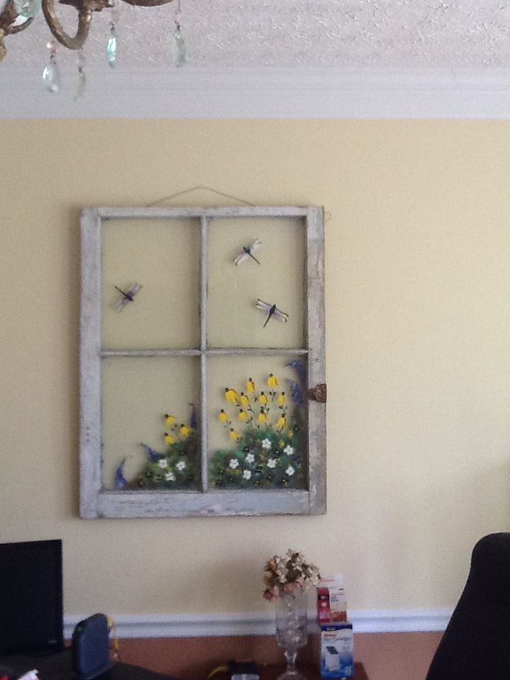 I love this ❤ painted window frame country, vintage. Wall ...