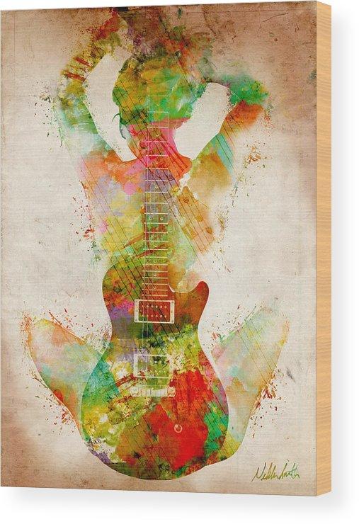 Guitar Siren Wood Print by Nikki Smith