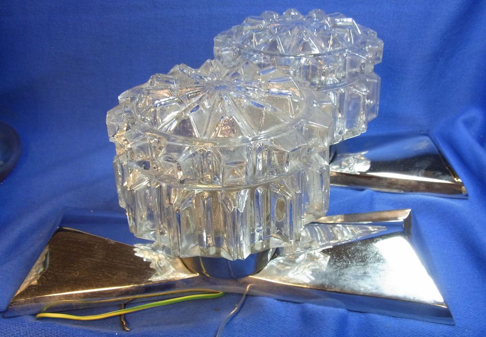 Pair Mid Century 60´s Glass & Chrome Wall Lamps Mirror Sconces #O/D