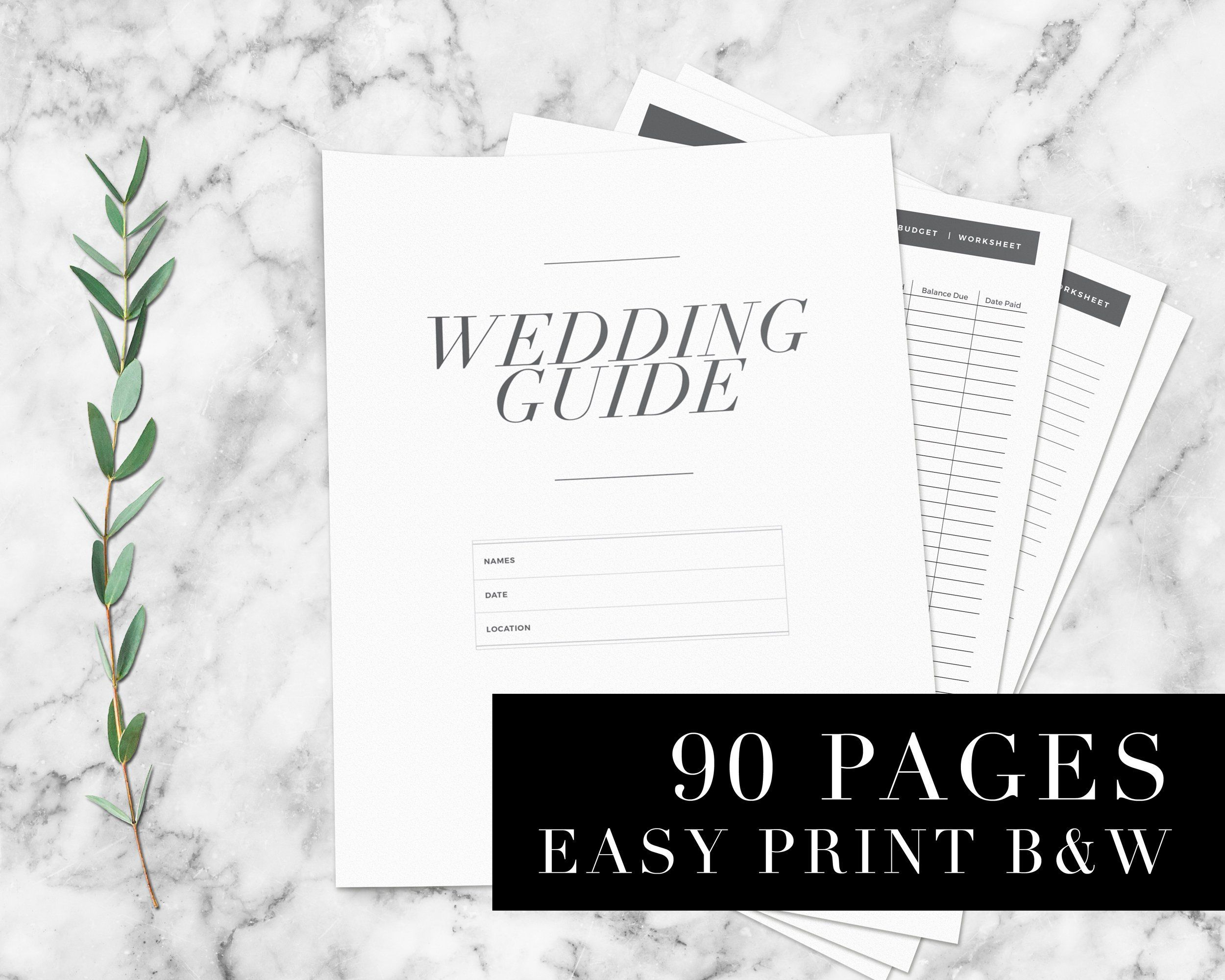 PRINTABLE Wedding Planner, 90 Pages, Printable Wedding Planning