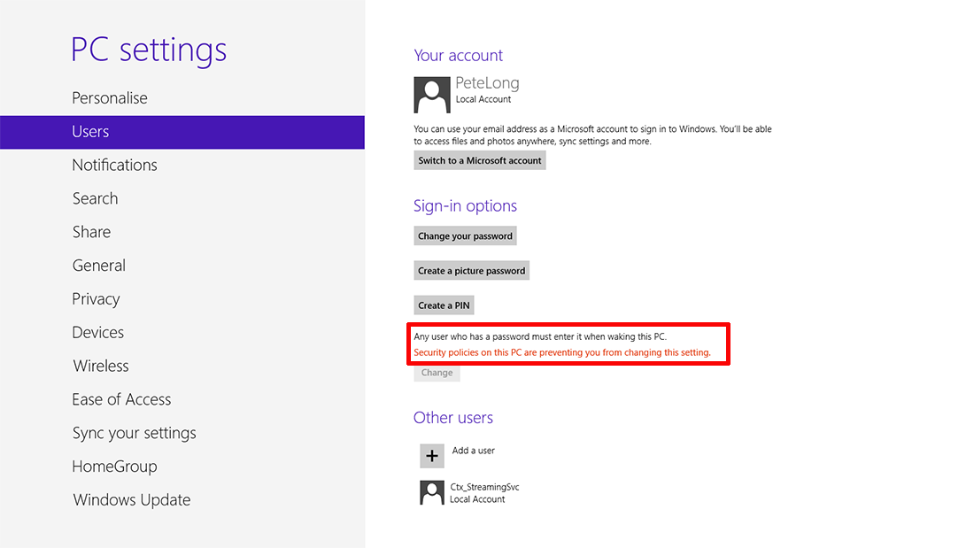 stop windows 8 asking for a password after it locks itself