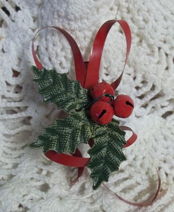 Vintage Holly Ribbon Bells Christmas Tree Clip Ornament