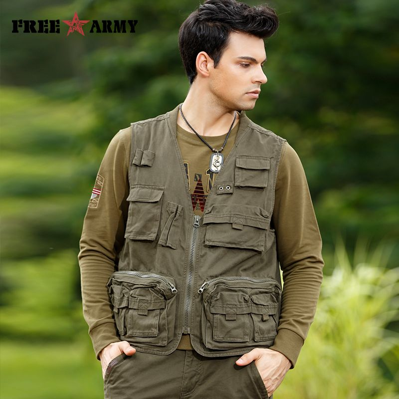 57ef73c1eea Find More Vests   Waistcoats Information about Casual Multi pockets Mens  Vest Brand Cotton Pockets Cargo Coats   Jackets Sleeveless Male Vests  Military ...