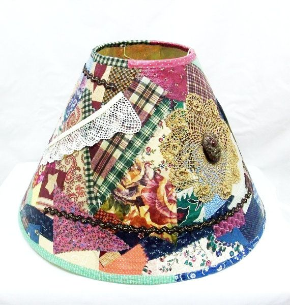 Primitive Decoupage Lampshade Shabby By