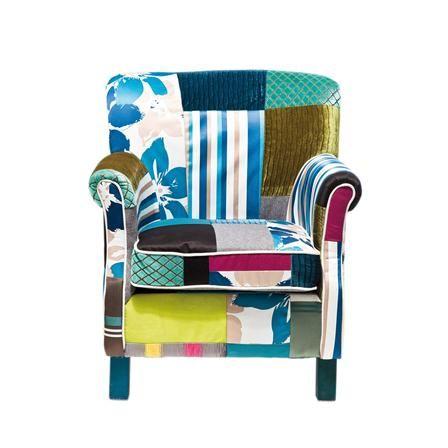 Achica France Patchwork Chair Striped Armchair Armchair