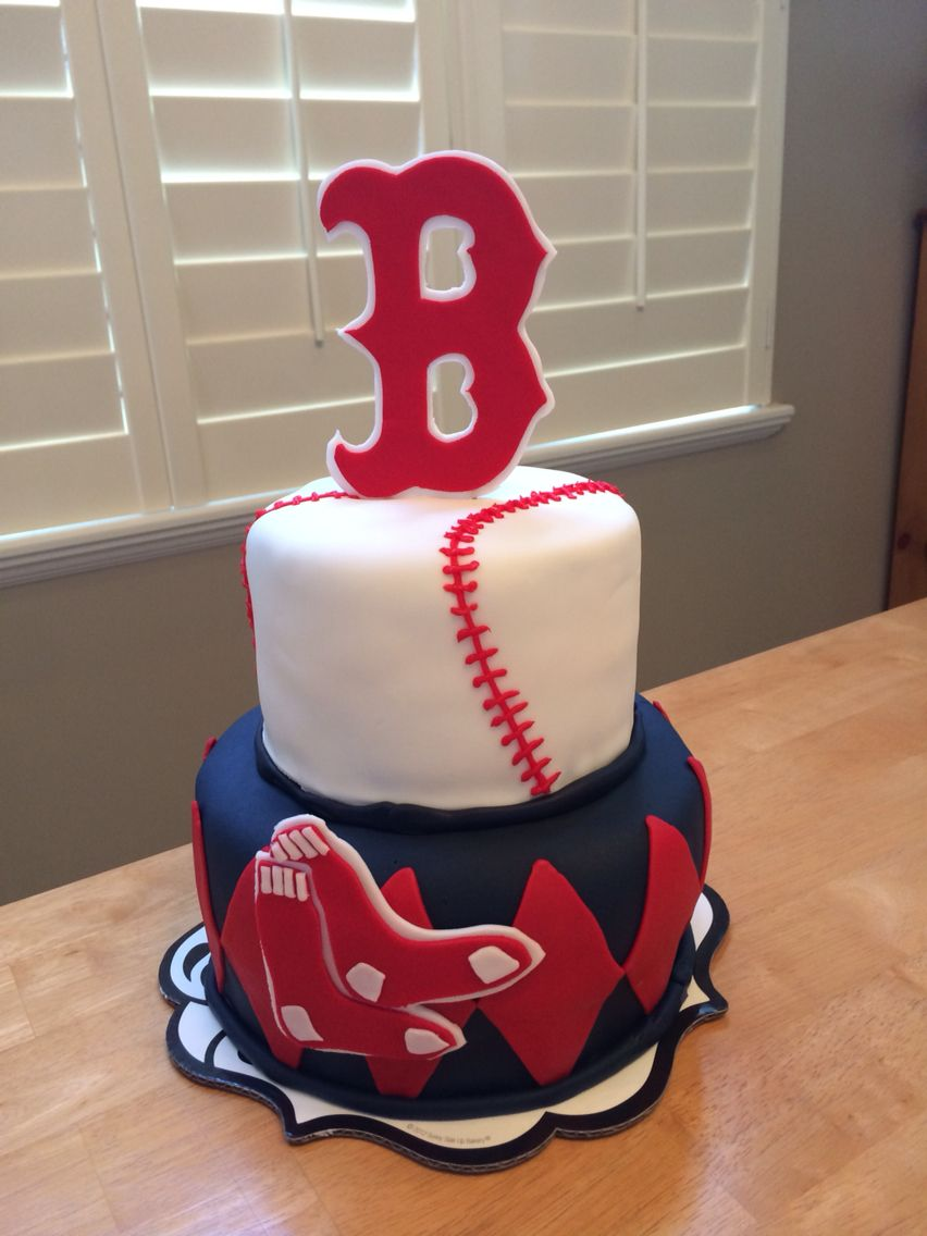 Marvelous Boston Red Sox Birthday Cake With Images Red Sox Birthday Personalised Birthday Cards Paralily Jamesorg