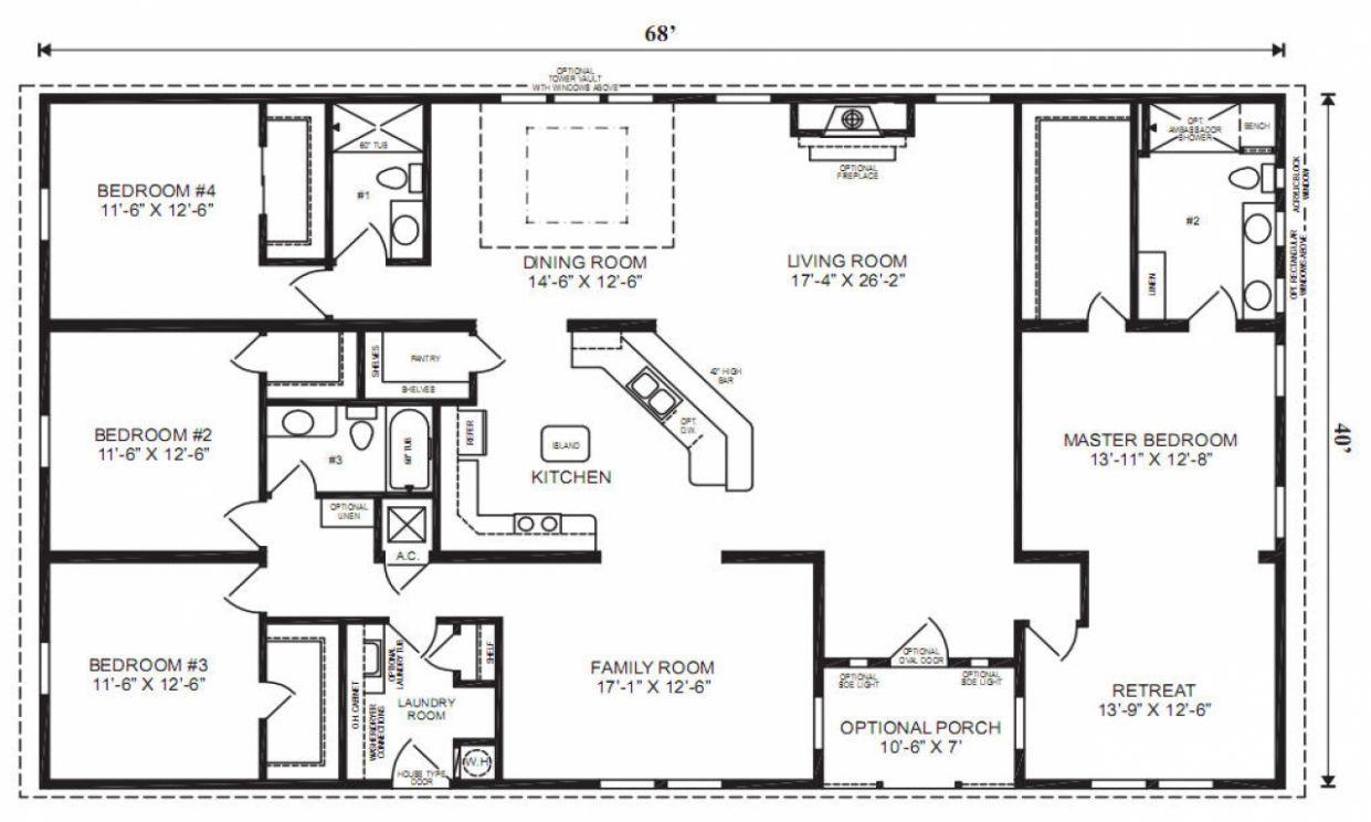 5 Home Plan With Shop Ragnarok Mobile In 2020 Modular Home Floor Plans Rectangle House Plans Open Floor House Plans